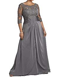 Scoop Three Quarter Sleeves Prom Dresses Mother of The Bride Dresses
