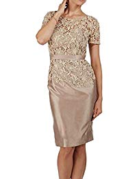 Short Sleeves Lace Satin Mother of The Bride Dresses