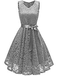 V Neck Vintage Lace Prom Wedding Cocktail Party Midi Swing Dress With Belt-Sash