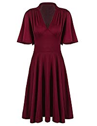 Vintage 1920s V Neck Rockabilly Swing Evening Party Cocktail Dress with Sleeves