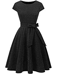 Vintage 1950s Rockabilly Cap Sleeve Glitter Cocktail Prom Dresses With Belt