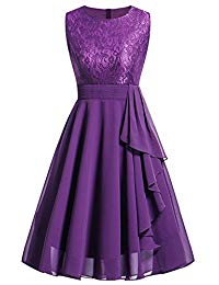 Vintage A-Line Contrast Dress Lace Chiffon Prom Gown for Women