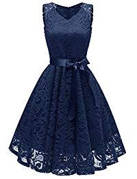 Vintage V-Neck Floral Lace Short Prom Cocktail Party Dresses with Sash