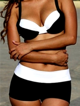 Casual Color Block Tankini Set (Plus Size Available)