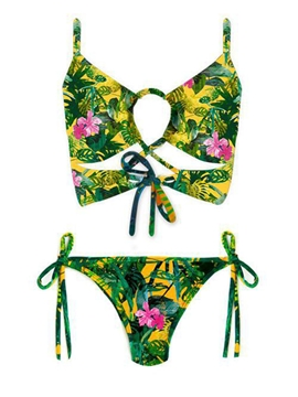 Floral Print Lace-Up Bikini Set
