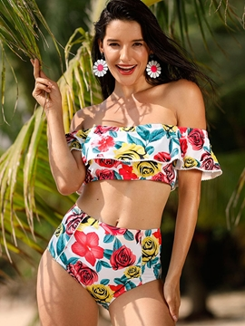 Off The Shoulder High Waist Falbala Rose Print Bikini Set