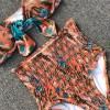 Plant Bowknot Bikini Set Swimwear