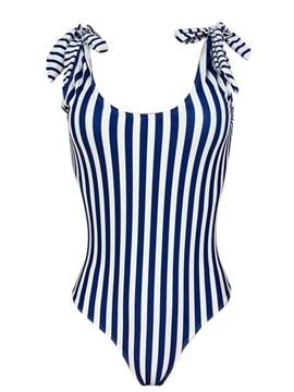 Lace-Up Bowknot Stripe Monokini