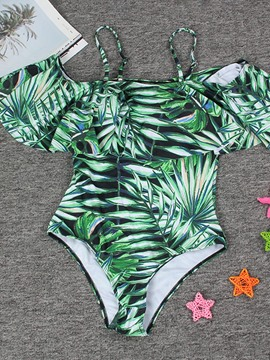 Plant Print Ruffles Green One Piece Bathing Suits