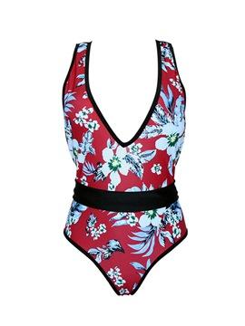 Print One Piece Patchwork Beach Look Swimwear