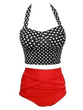 Print Polka Dots Western Tankini Set Swimwear