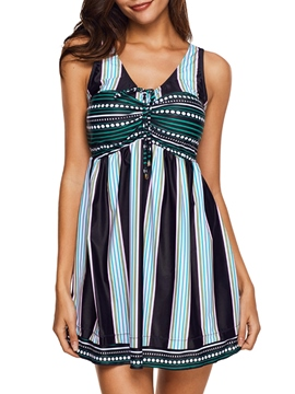 Stripe Patchwork Beach Look Swimwear