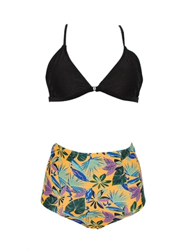 Tankini Set Floral High-Waist Lace-Up Swimwear
