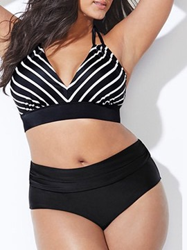 Tankini Set Micro Stripe Beach Look Swimwear