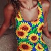 Vitality Sunflower Print Backless Monokini
