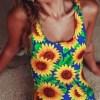 Vitality Sunflower Print Backless Monokini