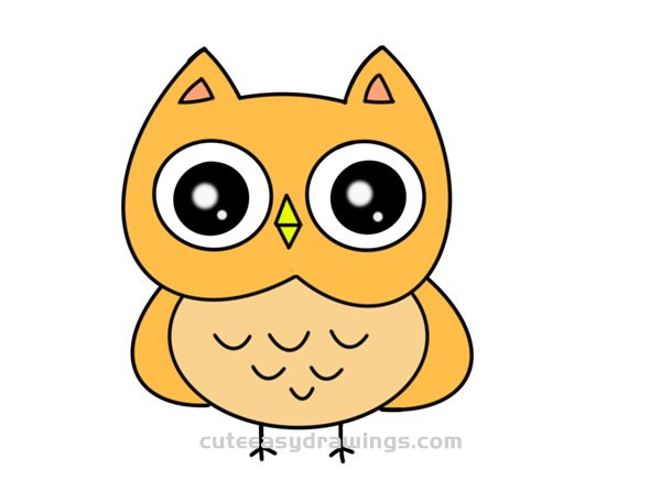 How To Draw A Cartoon Owl Easy Step By Step For Kids Cute Easy Drawings