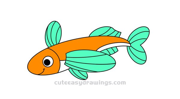 How To Draw A Cute Flying Fish Easy Step By Step For Kids Cute Easy Drawings