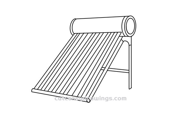 How to Draw a Solar Water Heater Easy Step by Step for