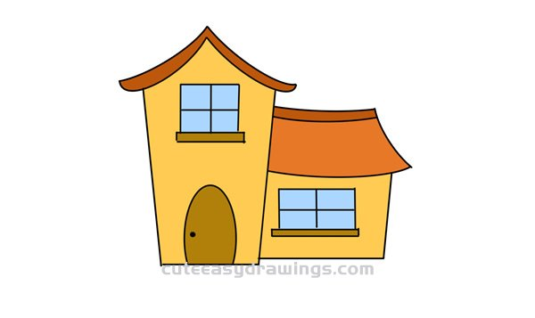 How To Draw A Cartoon House Easy Step By Step For Kids Cute Easy Drawings