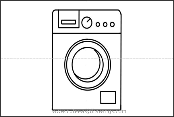 How to Draw a Drum Washing Machine Easy Step by Step for