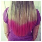 diy blonde hair with pink dip-dye