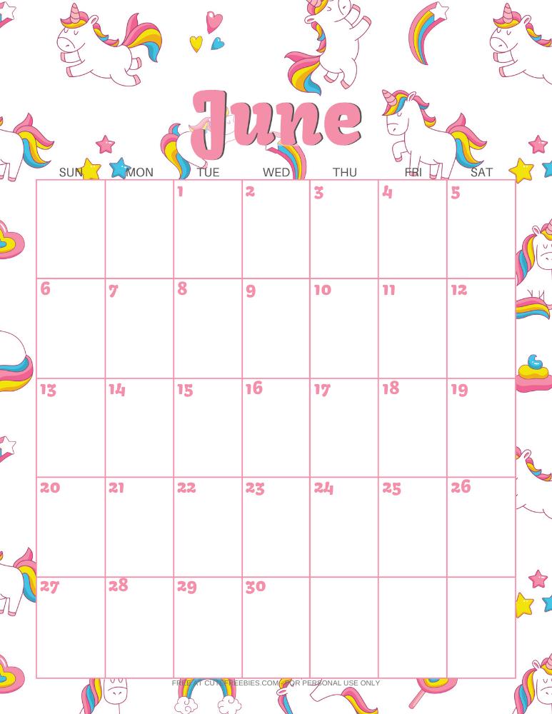 JUNE-2021-CALENDAR-PRINTABLE-UNICORNS - Cute Freebies For You