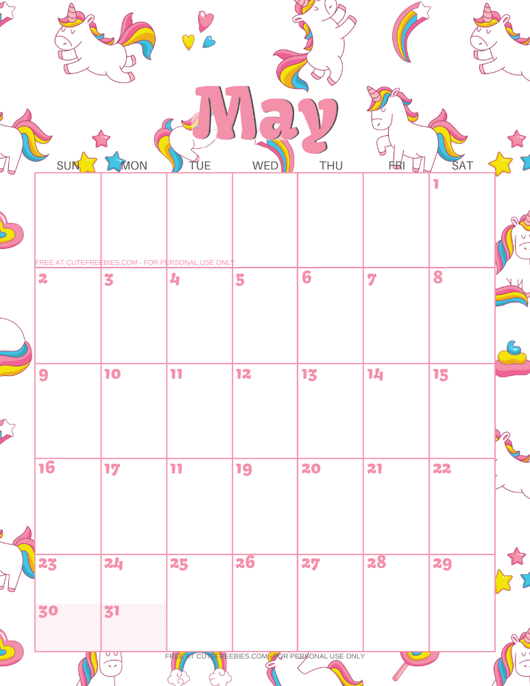 MAY-2021-CALENDAR-PRINTABLE-UNICORNS - Cute Freebies For You