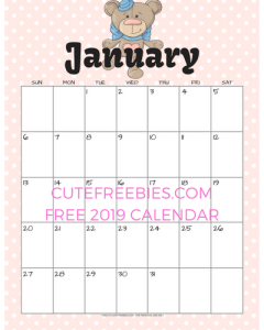 free 2019 cute calendar with animals cute freebies for you
