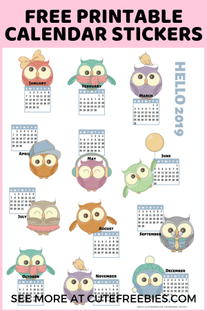 2019 Calendar Printable Stickers Cute Freebies For You