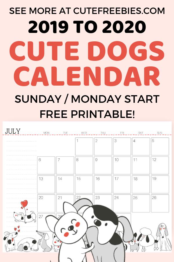 Free Printable 2020 Calendar For A Happy Year! - Cute