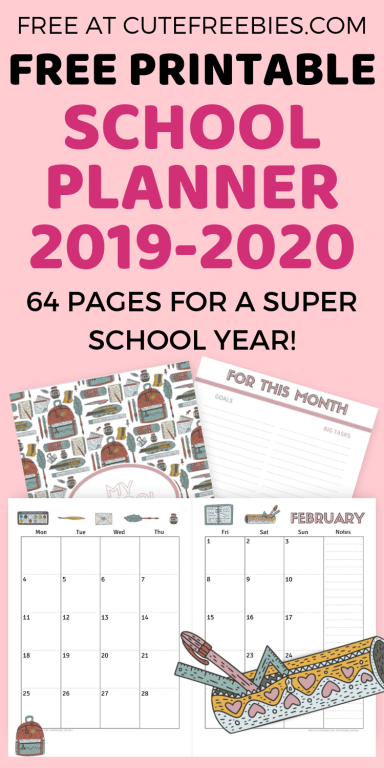 Free School Planner Printables For 2019-2020! - Cute ...