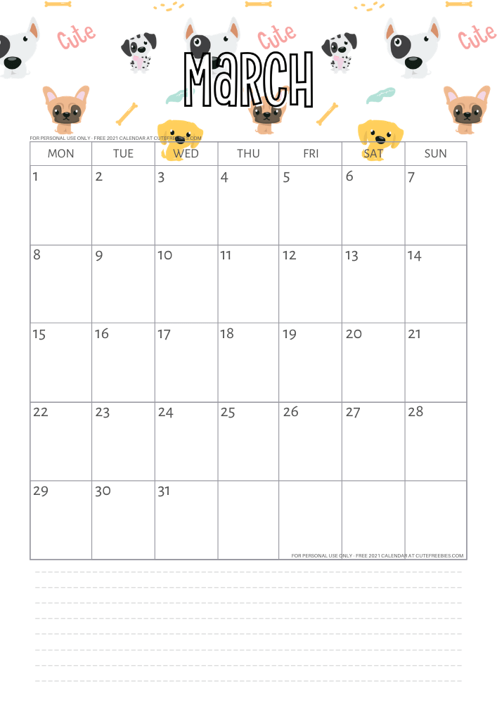 Free Printable March 2021 Calendar Pdf Cute Freebies For You