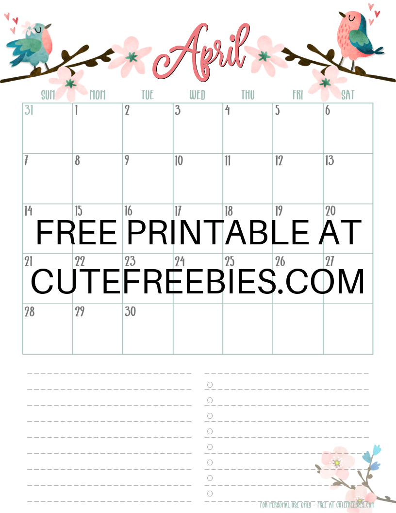 April-2019-calendar-printable-cfspring - Cute Freebies For You
