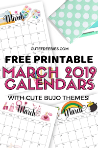 Free Printable March 2019 Calendar With Bullet Journal Themes - print on various paper sizes. #freeprintable #cutefreebiesforyou #bulletjournal #bujomonthly