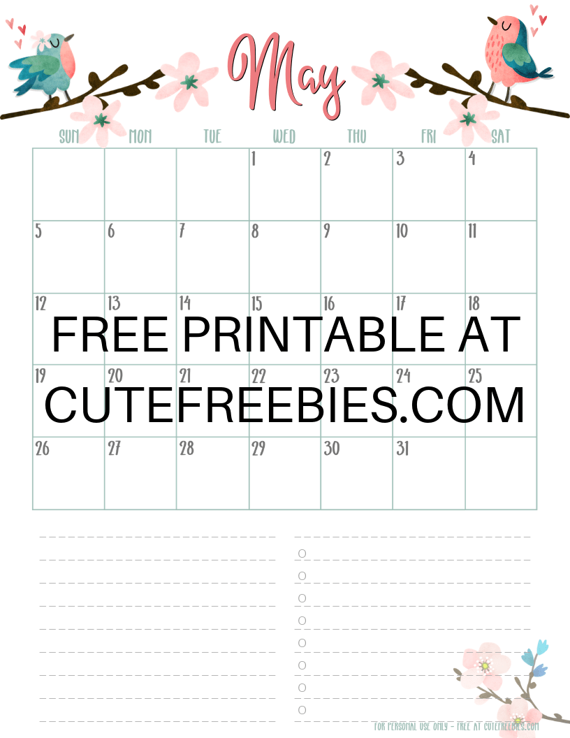 May 2019 Calendar Printable Cfspring Cute Freebies For You