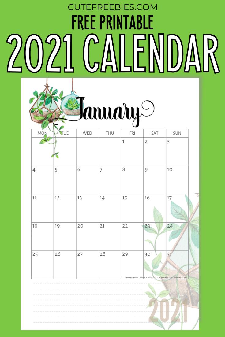 2021 Calendar Free Printable - Plants Theme! - Cute ...