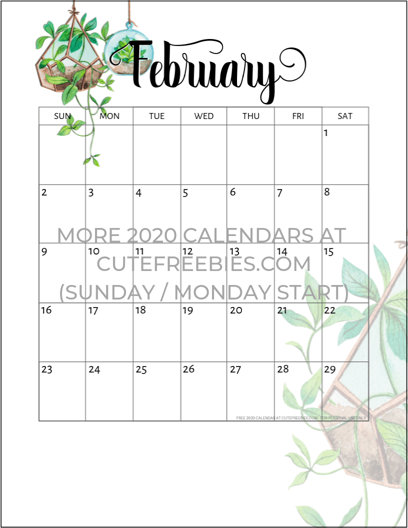 February 2020 Printable Calendar Cute.February 2020 Calendar Printable Plants Cute Freebies For You