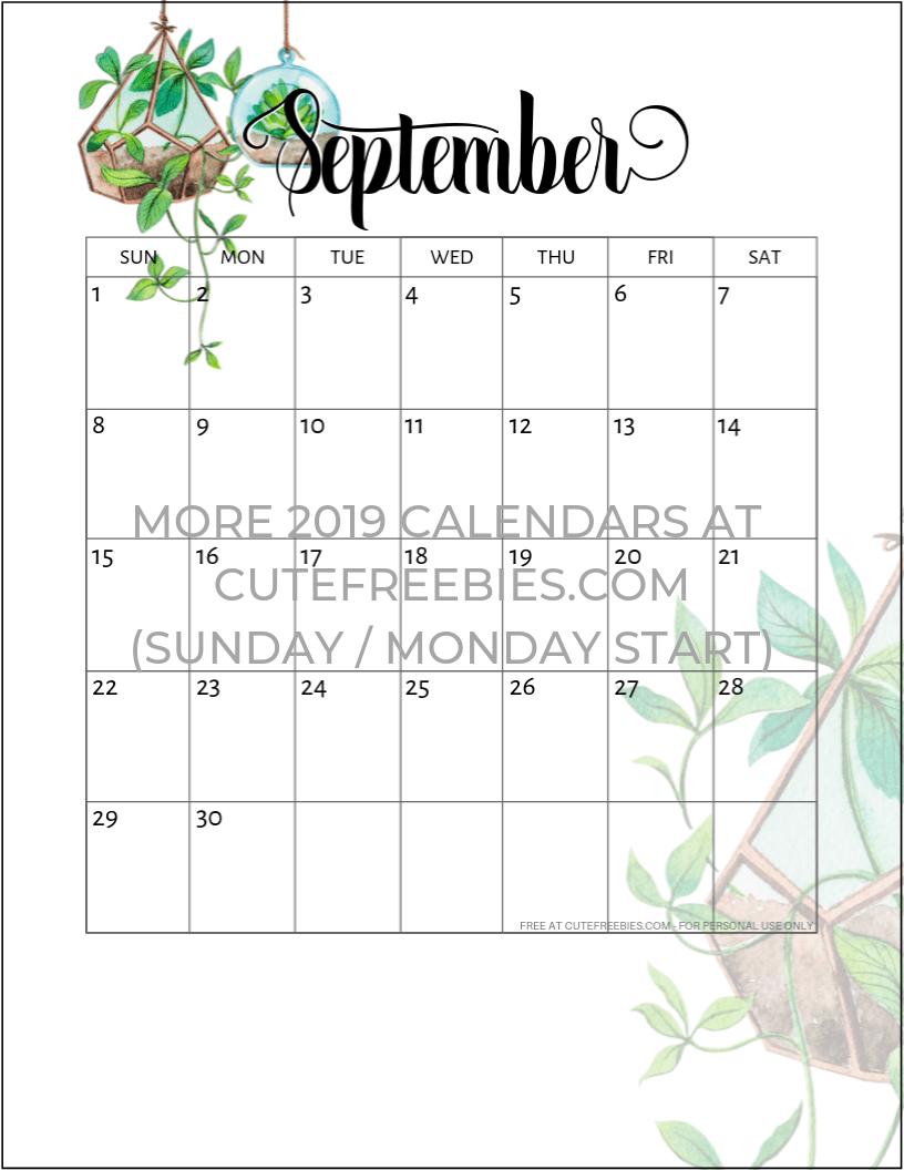 Sept 2019 Calendar Printable.September 2019 Calendar Printable Plants Cute Freebies For You