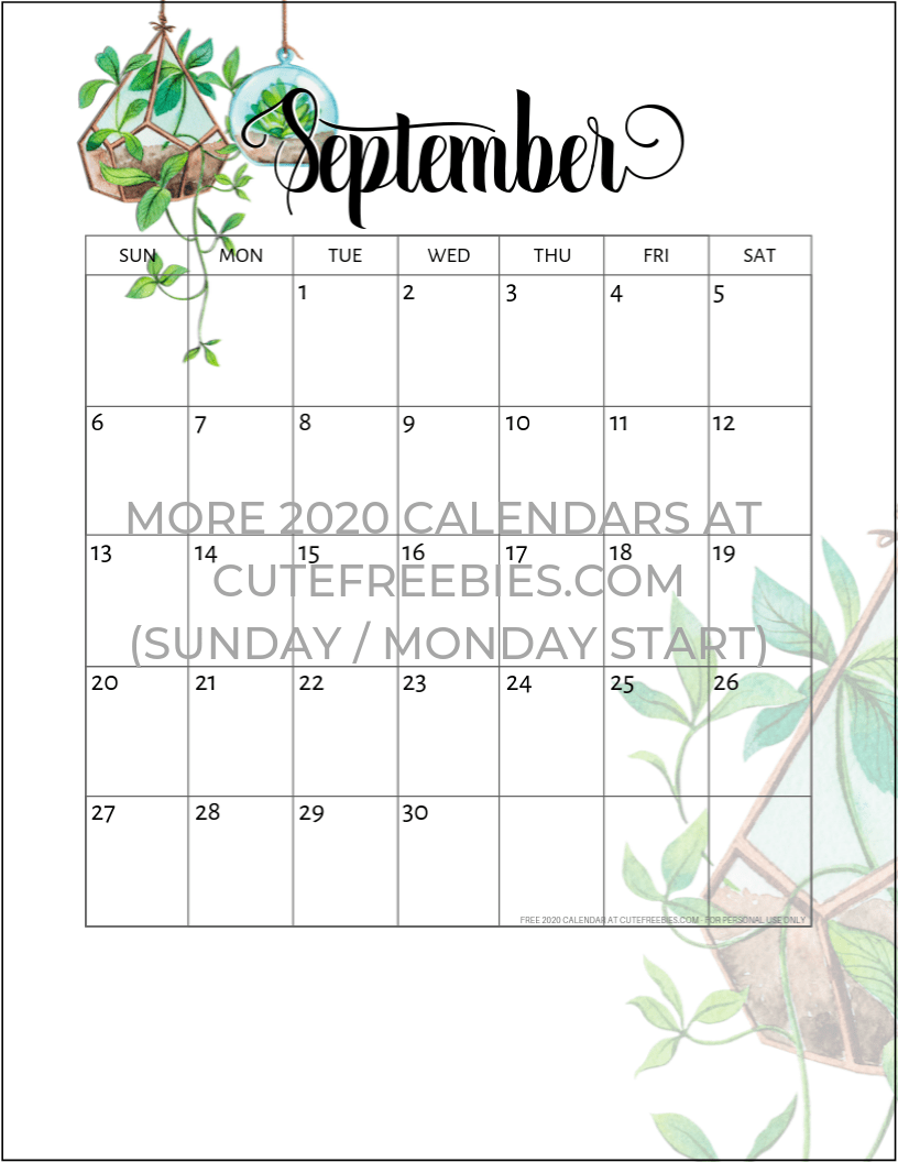 This is a photo of Playful Free Printable Calendars September 2020