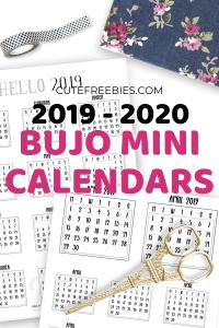 Free Printable Bullet Journal Calendar Stickers For 2019 - 2020. Monthly calendar planner stickers for your habit tracker, future log and weekly spreads. Free pdf download now! #bulletjournal #plannerstickers #cutefreebiesforyou #freeprintable