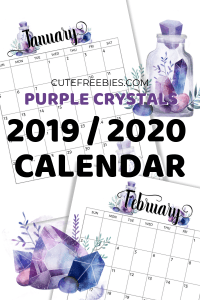 Free Printable 2019-2020 Calendar - Monthly planner printable with crystal gems. A4 A5 and US Letter size. Free pdf download now! #cutefreebiesforyou #freeprintable #crystals #bujomonthly #gems