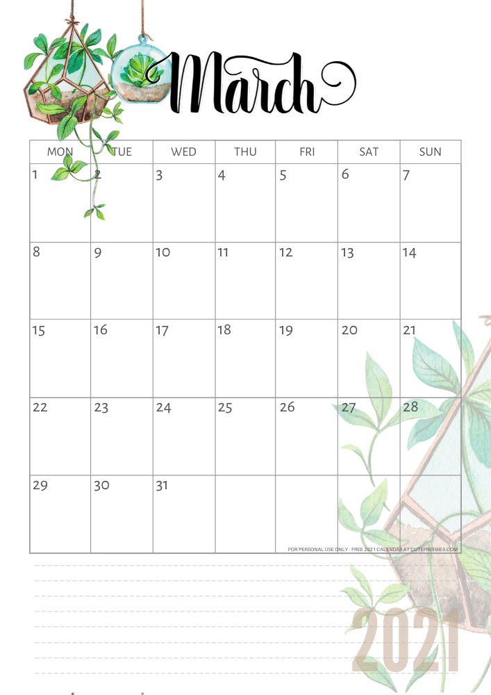 Cute 2021 Printable Blank Calendars - 2021 year calendar ...