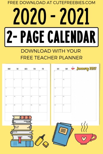 2021 Monthly Calendar Two Page Spread - Free Printable ...