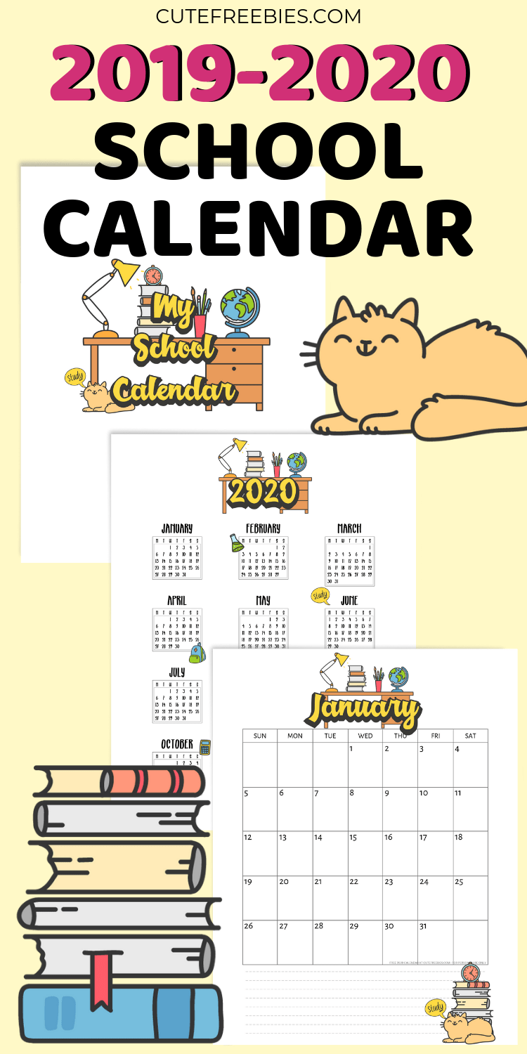 graphic relating to Printable School Calendar called Higher education Calendar Printable For 2019-2020 - Adorable Freebies For Yourself