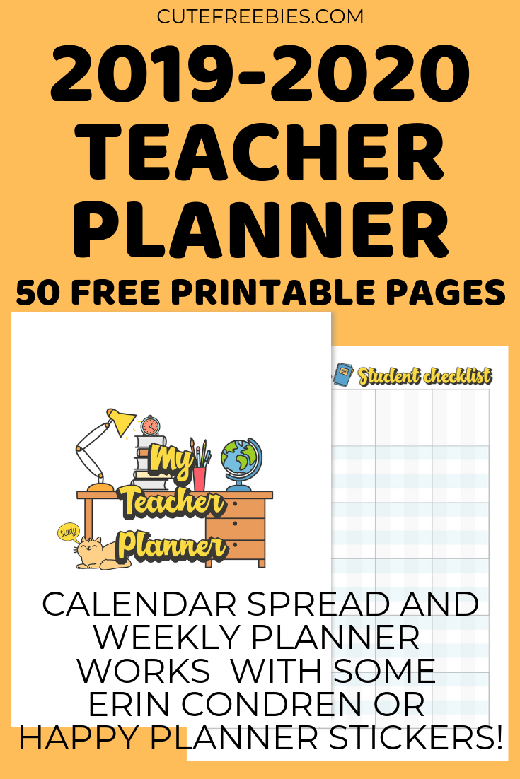 graphic about Teacher Binder Printables called Trainer Planner For 2019-2020 - No cost Printable! - Adorable