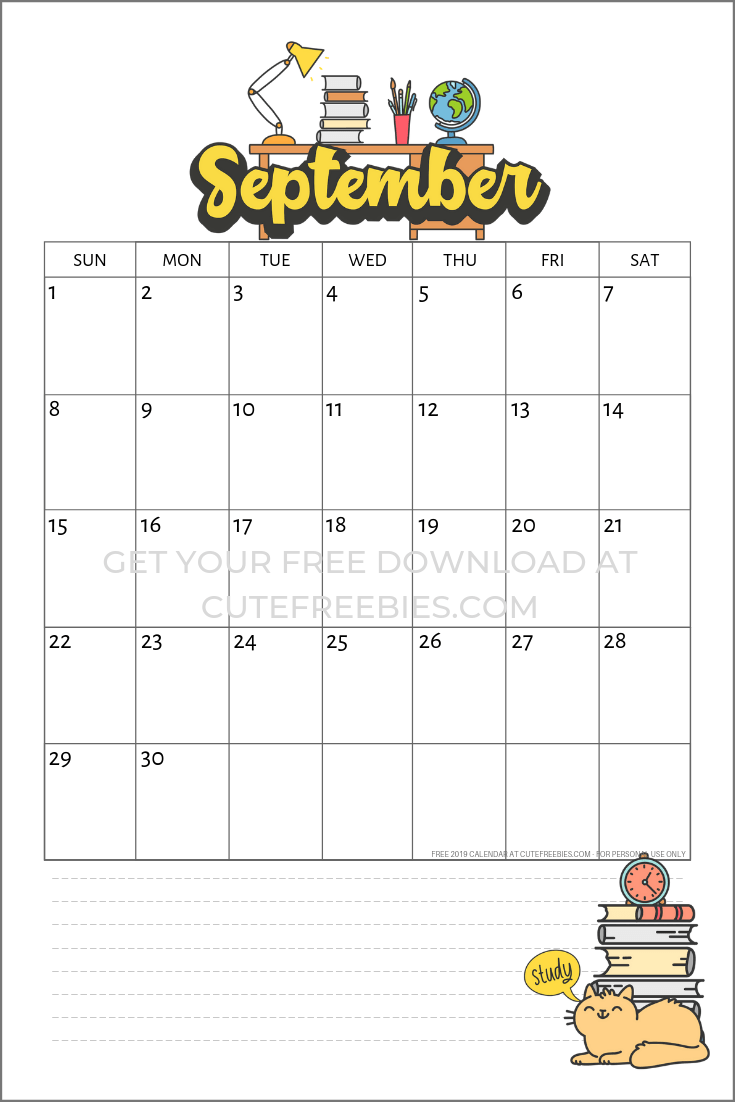 september-2019-school-calendar - Cute Freebies For You