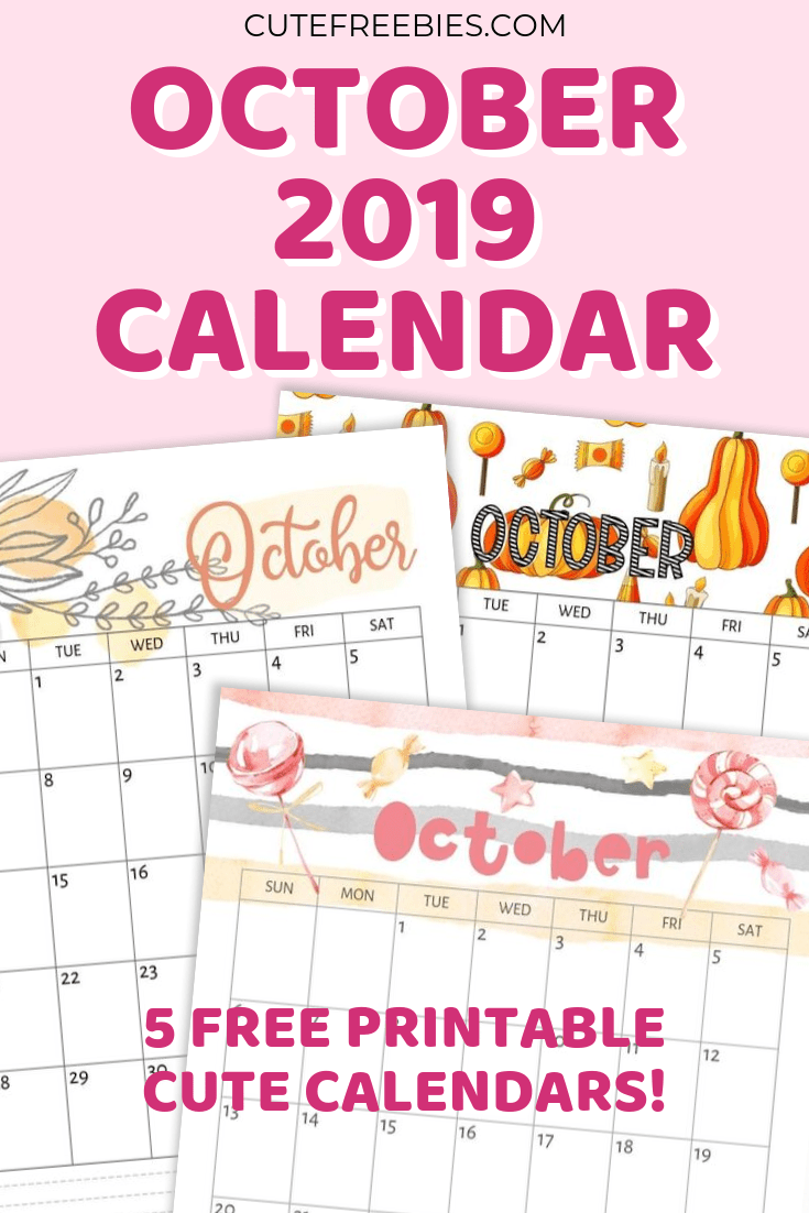 graphic relating to Freeprintable referred to as Oct 2019 Calendar - Totally free Printable! - Lovable Freebies For On your own