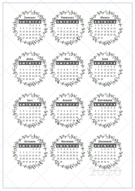 free printable 2020 calendar stickers for your bullet