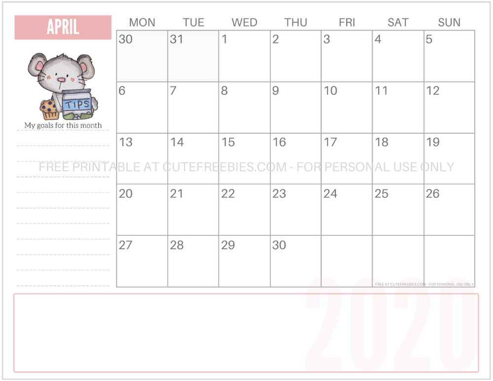 april-2020-year-of-the-rat-mouse-calendar - Cute Freebies ...